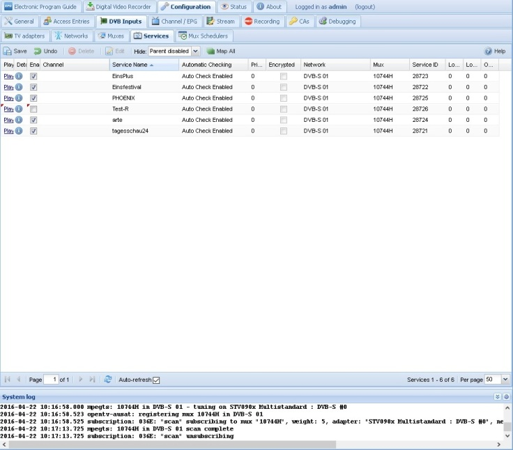 tvheadend_21_Result_Services